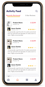 A smart phone showing the TruRevU app, featuring product reviews from multiple users