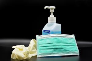 Mask, gloves and hand sanitizer