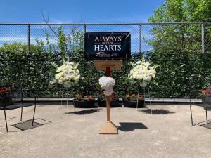 the beautiful stage set for the Always in Our Hearts ceremony