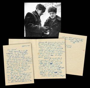"Three-page handwritten letter signed by Oswald and penned from Russia to his brother in 1961, reporting that authorities were ""giving me some trouble about the visas"" (est. $12,000-$14,000)."