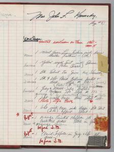 "The relationship between Mrs. Kennedy and Oleg Cassini, her White House-era ""Secretary of Style"", is explored through this studio ledger with fabric samples, 17 pages (est. $4,500-$5,500)."