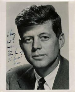 "Extreme close-up of a young John F. Kennedy, circa 1953, signed and inscribed ""To Perry, Best of Luck, John Kennedy U.S Senator – Mass."" (est. $2,000-$2,400)."