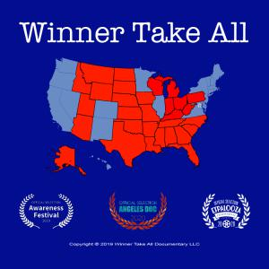 """Poster image showing that """"Winner Take All"""" has been named """"Official Selection"""" of the 2019 """"Awareness Festival,"""" 2020 """"Angeles Doc Festival,"""" and 2020 """"EFPalooza."""""""
