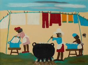 Oil on board painting signed by the renowned Louisiana folk artist Clementine Hunter (1886-1988), titled Wash Day (circa 1966), signed, 17 ¾ inches by 23 inches (est. $3,500-$5,500).
