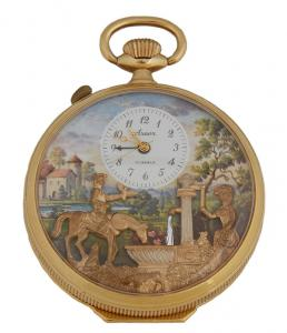 20th century Arnex Reuge pocket watch with music and an automaton, in working condition (est. $800-$1,200).