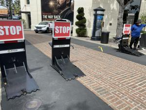 barriers protecting clean up crews