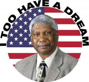 "Krishnan Suthanthiran, President & Founder of TeamBest Companies & Best Cure Global Foundation pictured on flag background with ""I Too Have a Dream"" text around outside"
