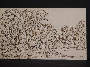 Two sketches attributed to Vincent van Gogh (Dutch) 1853-1890) will be offered as one lot. Both were done with materials van Gogh used, on 19th century paper (est. $25,000-$35,000).