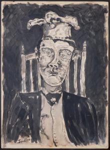 Gouache and ink on paper done in the manner of Chaim Soutine (French, 1893-1943), titled Portrait of a Chef (circa 1932), signed, undated and unframed (est. 10,000-$20,000).