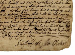 Rare autograph document signed by Robert Hooke (British, 1635-1703) from 1670, arbitrating a property dispute after the 'Late dreadfull fire' (the Great Fire of London) (est. $65,000-$70,000).