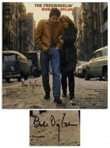 The Freewheelin' Bob Dylan, the artist's second album, signed by Dylan (shown, est. $5,000-$6,000), along with Dylan signed albums Bringing it All Back Home and Blonde on Blonde.