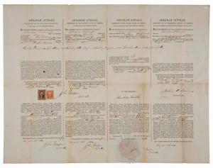 War dated, four-language whaling ship's passport signed by Abraham Lincoln (est. $10,000-$12,000).