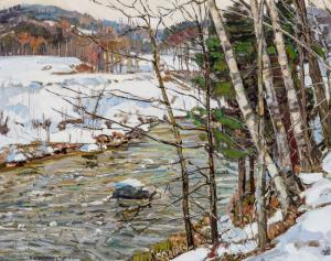 Lot 32 - George Gardner Symons (American, 1867-1909), Winter Stream, oil on board, signed, 20 x 25 inches, estimate: $15,000-$25,000.