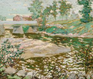 Lot 38 -Ernest Lawson (American, 1873-1939), A View of the Bronx River, oil on canvas, signed, 20 1/4 x 23 inches, estimate: $15,000-25,000.