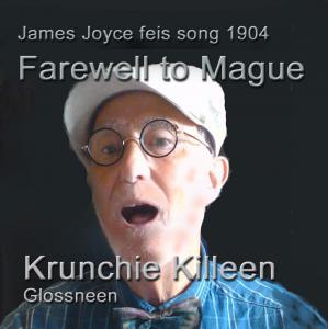Krunchie Killeen, wearing white peaked hat and James Joyce style glasses, singing