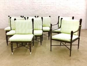 Suite of Michael Taylor 'Montecito' modern garden furniture, comprising a dining table and eight side chairs (est. $1,500-$2,000).