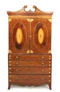 George III inlaid Mahogany Linen Press, English, late 18th century.