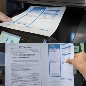 Print Buyers Guides and CarFax on SaleSleeve paper