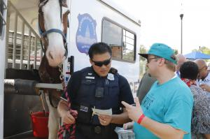 Introducing DC Police Horse Mounted Unit Officer to the Drug-Free World program and materials