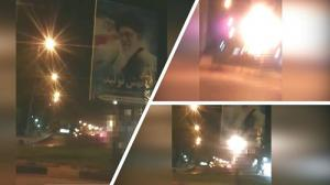 Andimeshk- Torching Khamenei's bill-board- June 2020