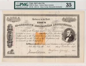 Zion's Co-operative Mercantile Institution 1871 Issued Stock Certificate with Brigham Young signature as president. Salt Lake City, Utah Territory, 1 Share. Imprinted U.S. Revenue Stamp in middle