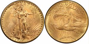 With a winning bid of $2,160,000, this 1927-D Saint-Gaudens Double Eagle was the most valuable U.S. rare coin sold at auction during the first half of 2020. (Image courtesy of Professional Coin Grading Service www.PCGS.com.)