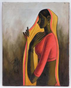 Oil on canvas Portrait of a Young Woman by B. Prabha (Indian, 1933-2001), of a lovely Indian woman with red top, yellow Ghoonghat and gold hoop earrings (est. $7,000-$1,000).