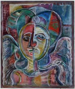 Colorful egg tempera on paper depiction of an angelic figure in abstract by David Clyde Driscoll (Md./Washington, D.C., 1931-2020), titled Masked Angel on verso (est. $3,000-$5,000).