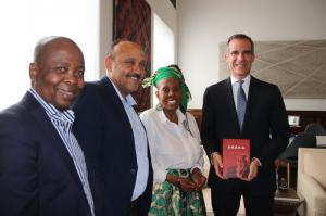 Mrs. Mathabo Kunene South African Citizen Ambassador for Durban with Los Angeles Mayor Eric Garcetti & Durban City Officials Philip Sithole & Eric Apelgren