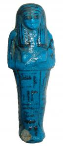 Gorgeous deep blue glazed ushabti (an Egyptian funerary figure), 3rd Intermediate Period, circa 1075-945 BC, depicted mummiform, 5 ¾ inches long (est. $6,000-$8,000).
