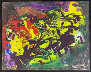 Abstract canvas painting by A. English from The Riverside Premier Rehabilitation and Healing Center in Manhattan's Upper West Side