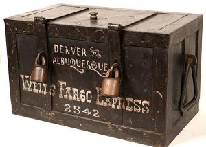 1885 key lock bullion / treasure box out of the Parker-Lyon Pony Express Museum in Arcadia, Calif., reportedly used as a movie prop and sold by RKO Studios in the 1960s ($1,280).