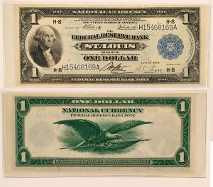 Beautiful $1 Federal Reserve bank note, 1918 series (St. Louis, Mo.), in uncirculated condition and rare, signed by bank officers Elliott, Burke, Attebery and Biggs ($1,375).