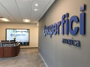 """Picture of the reception area of Superfici America's new North American headquarters in Concord, NC."""