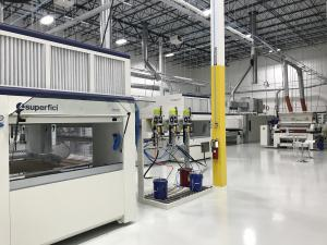 """Picture of the testing lab in Superfici America's new facilities in Concord, NC."""