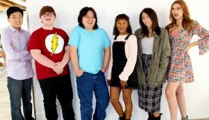 Posing for the cast photo of the NC-16 teenage web series pictured from left to right is Jackson Geach, Grayson Thorne Kilpatrick, Norton Leufven, Marielle Caldwell, Emma Apgar, and Serena Laurel. Now available on SeekaTV.