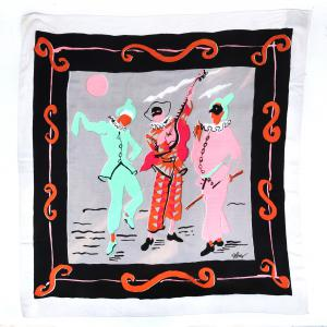 "Festive mid-1940s Celebration scarf with three harlequins in green, orange, pink and cream, with a black and orange scrolling border, signed ""RWB"", 38 inches by 36 inches (est. $200-$400)."