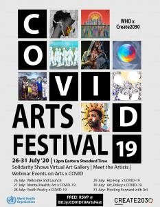 WHO x Create2030 COVID-19 Arts Festival Flier