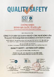 CCI International Certificate - QUALITY SAFETY CERTIFICATE - INDEPENDENT INTERNATIONAL ASSESSMENT