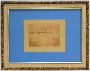 Impressionist etching by James Abbott McNeill Whistler (Mass./U.K./France, 1834-1903), of sailing vessels at sea, 5 inches by 6 ¾ inches and signed in pencil lower margin ($7,500).