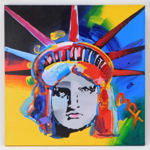 Vibrant (and authentic) blue, green, yellow and red depiction of Peter Max's (Germany/N.Y., b. 1937) iconic Liberty Head image, acrylic on canvas on a TriMar stretcher, signed ($5,625).