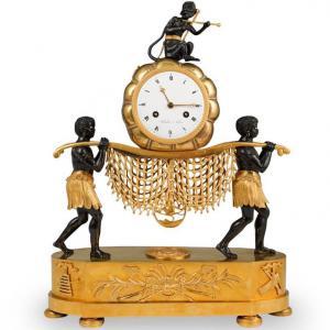 Rare 19th Cent French Empire Gilt Bronze Mantel Clock