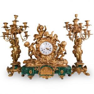(3 Pc) 19th Cent. French Bronze and Malachite Clock Set