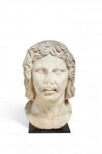 Large, possibly ancient Roman carved marble bust of a barbarian raised on an iron stand, 26 ¼ inches tall, from a private London collector ($50,000).