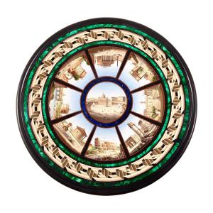 Fine Italian micro mosaic table top executed in Rome in the second half of the 19th century by Cesare Roccheggiani, 24 inches in diameter ($45,000).
