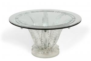 Marc Lalique glass cactus center table, with a design introduced in 1951, 28 ½ inches tall and 60 inches in diameter ($42,500).