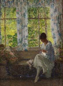 Oil on canvas painting by Helen Maria Turner (American, 1858-1958), titled Meditating by the Window, 16 ½ inches by 12 ½ inches ($40,000).