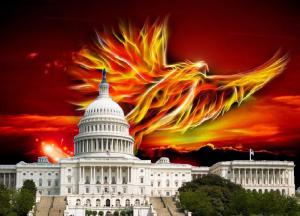 A phoenix rises from behind the US capitol