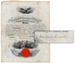 Civil War-dated military commission appointing a chaplain in the U.S. Navy, signed by Abraham Lincoln and countersigned by Navy Secretary Gideon Welles (est. $6,000-$7,000).