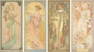 Alphonse Mucha's ornate designs remain a staple for collectors. Two sets of his decorative panels for the four seasons claimed top sales: the 1896 set of The Seasons was won for $43,200.